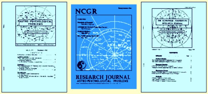 De izquierda a derecha: 1.1 diciembre 1982, 7.1 marzo 1989 (primera de las tres ediciones conjuntas con el NCGR Journal), 11.1 marzo 1995 (última edición distribuida). El título original Astro-Psychological Problems [Problemas astro-psicológicos] pasó a ser el subtítulo a partir del 5.1 enero 1987, bajo el nuevo título The Schneider-Gauquelin Research Journal [Revista de investigación Schneider-Gauquelin], pero siempre se conoció popularmente como APP.